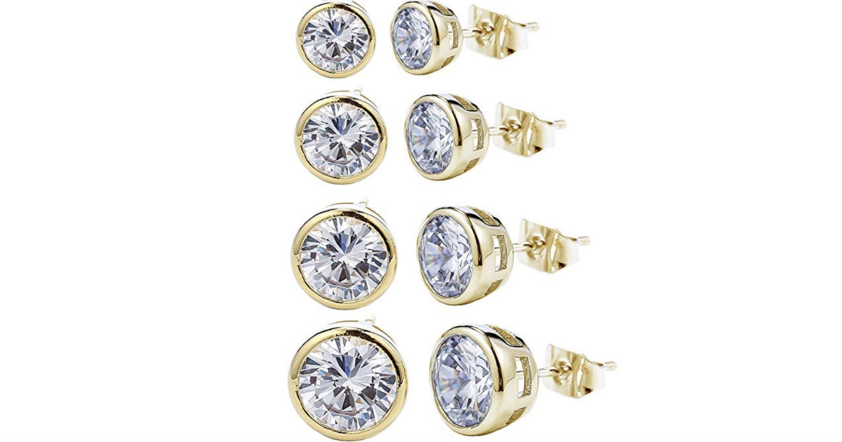 Round Crystal Stud Earrings 4-Pairs ONLY $6.99 Shipped