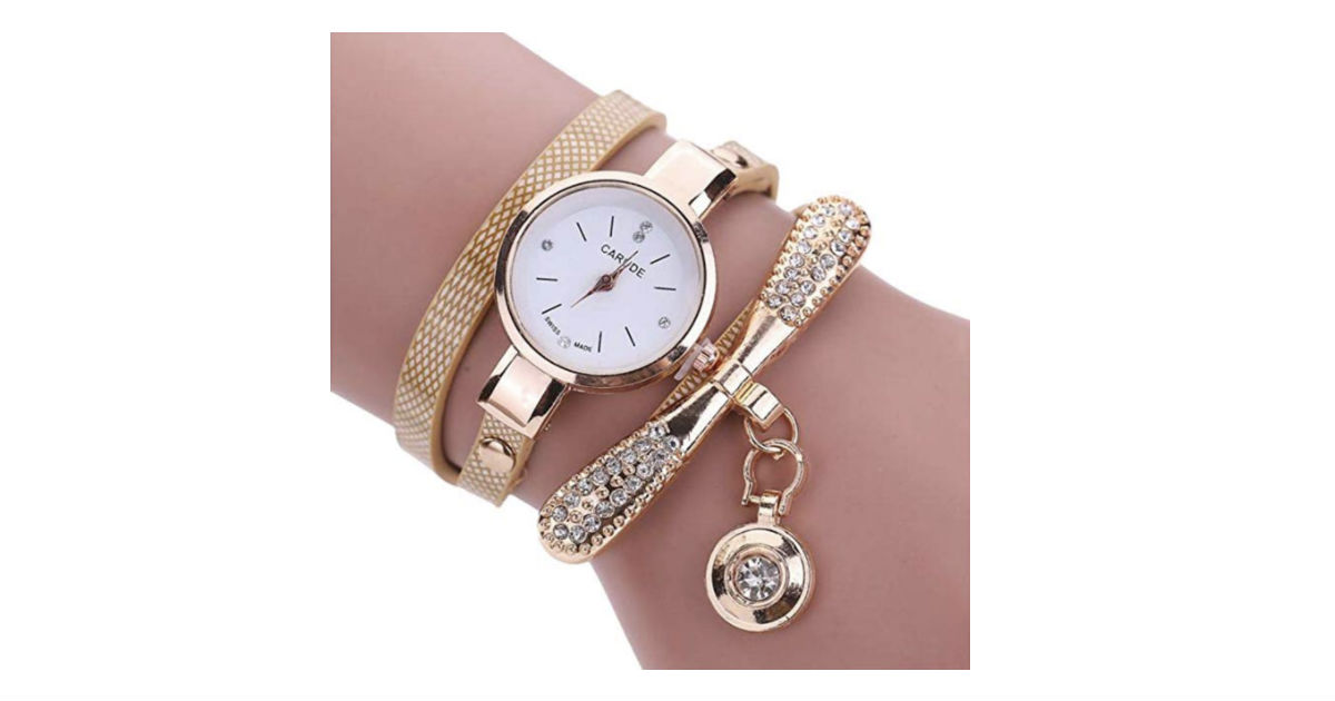 Leather Rhinestone Analog Quartz Watch ONLY $4.95 Shipped