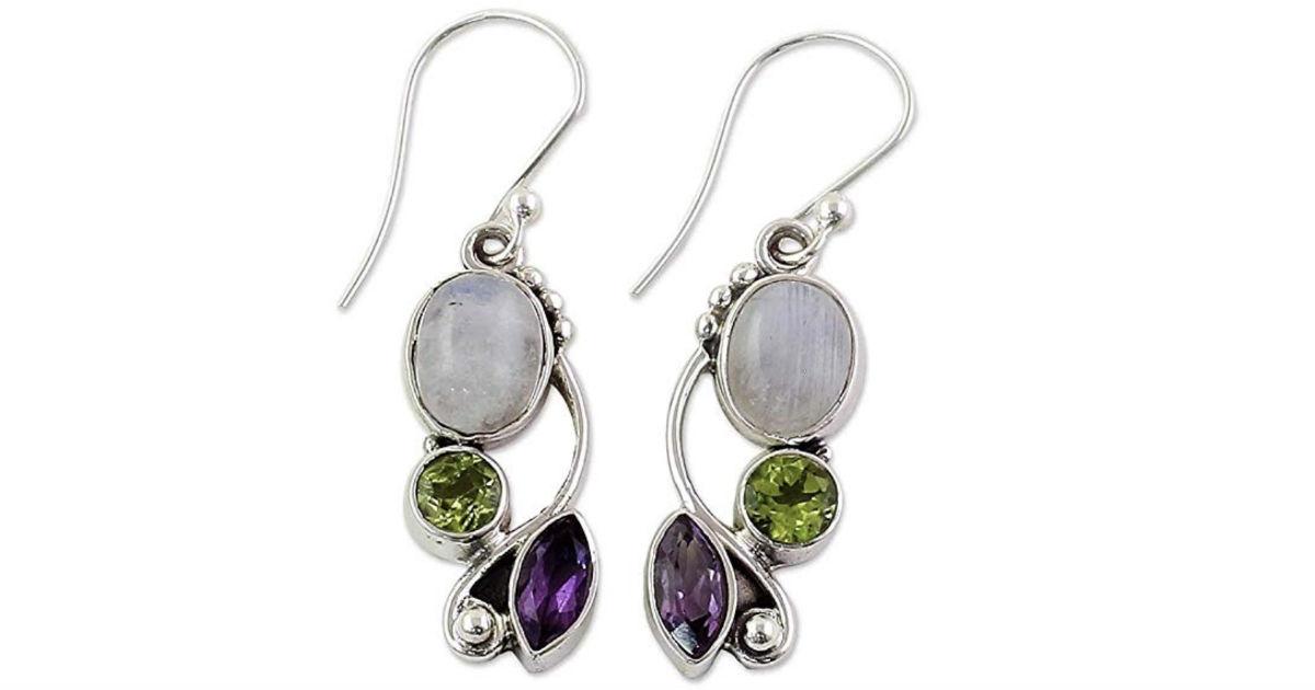 Emerald Amethyst Dangle Hook Earrings ONLY $2 Shipped