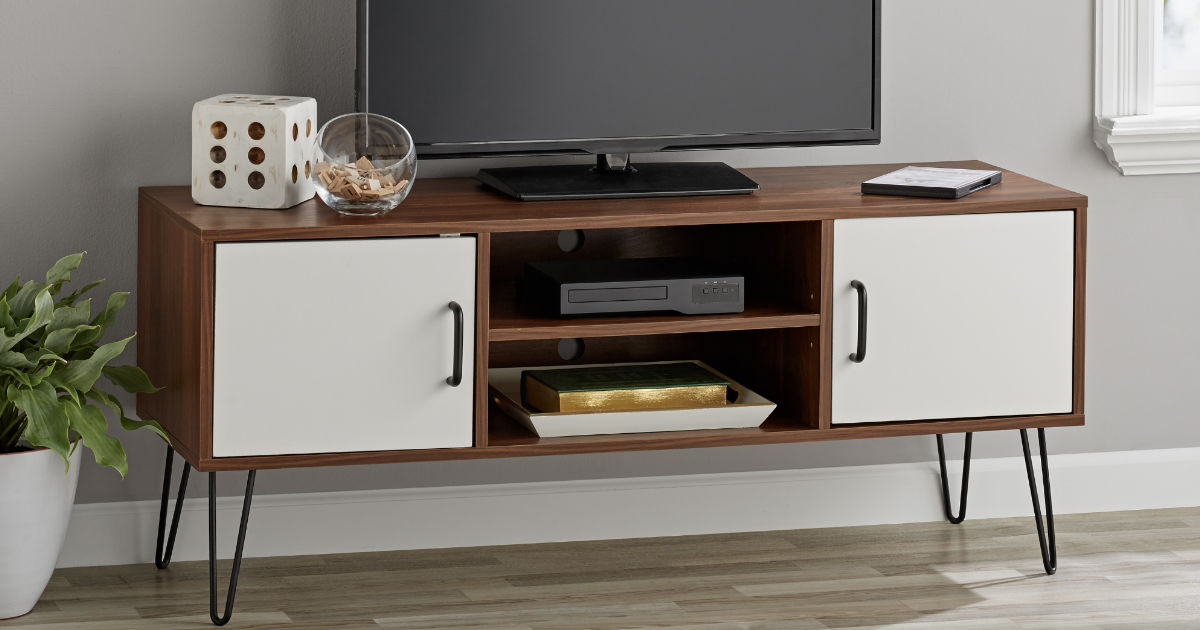 Mainstays Mid-Century Two-Tone TV Stand ONLY $49.97 (Reg $99)
