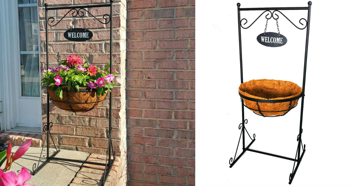 Patio Life Black Metal Welcome Planter ONLY $8.98 (Reg $15)