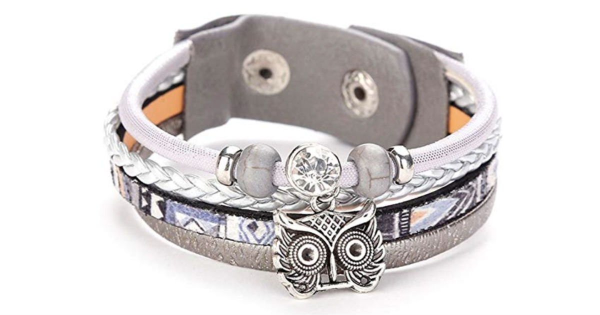 Rhinestones Bead Multilayer Owl Wristband ONLY $4.99 Shipped