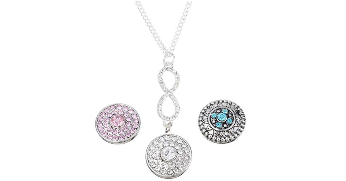 Rhinestone Removable Button Charms Necklace ONLY $2.99 Shipped