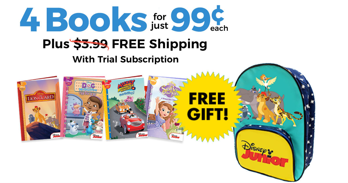 $3.96 for 4 Disney Books + FREE Disney Junior Backpack