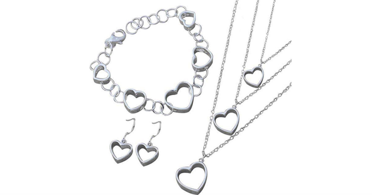 Hollow Heart Necklace Jewelry Set ONLY $4.99 Shipped