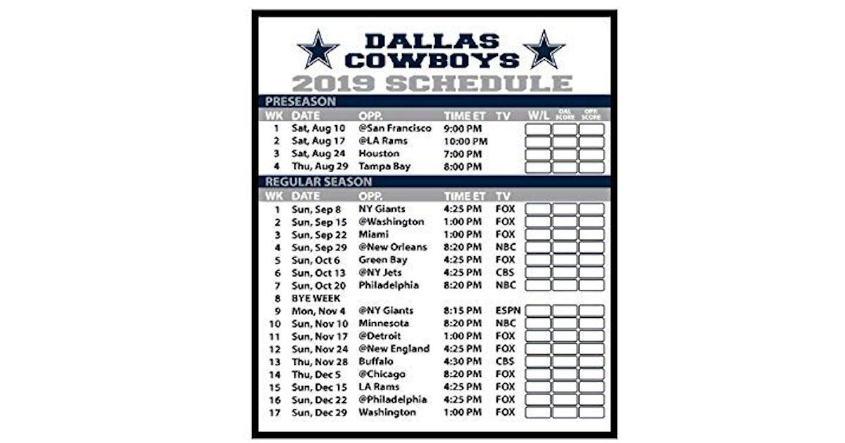 Free 2019 Dallas Cowboy Football Schedule Magnet