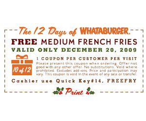 Whataburger Coupon For A Free Medium Fry Free Product Samples