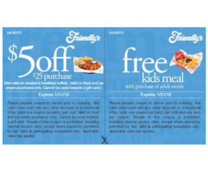 photograph regarding Friendly's Ice Cream Coupons Printable Grocery called Friendlys - Coupon for $5 or Choose a No cost Children Dinner with