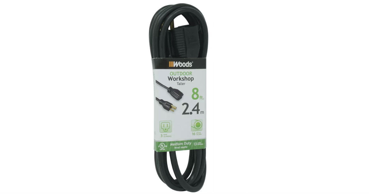Woods Outdoor Extension Cord Black ONLY $1.99 at Target
