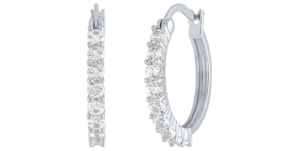 White Sapphire Hoop Earrings ONLY $15 (Reg $75) at JCPenney