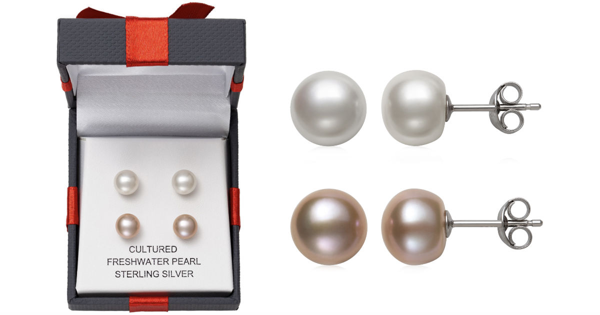 Cultured Freshwater Pearl Stud Earring Set ONLY $10 at JCPenney