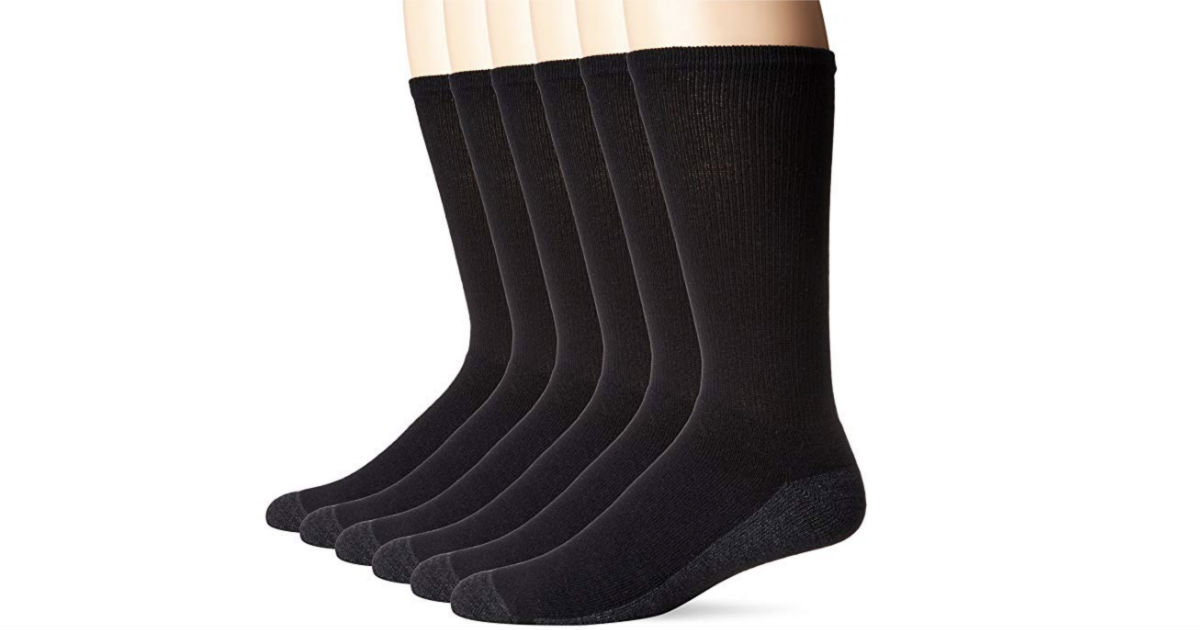 Hanes Men's ComfortBlend Max Cushion Crew Socks 6-Pack ONLY $7