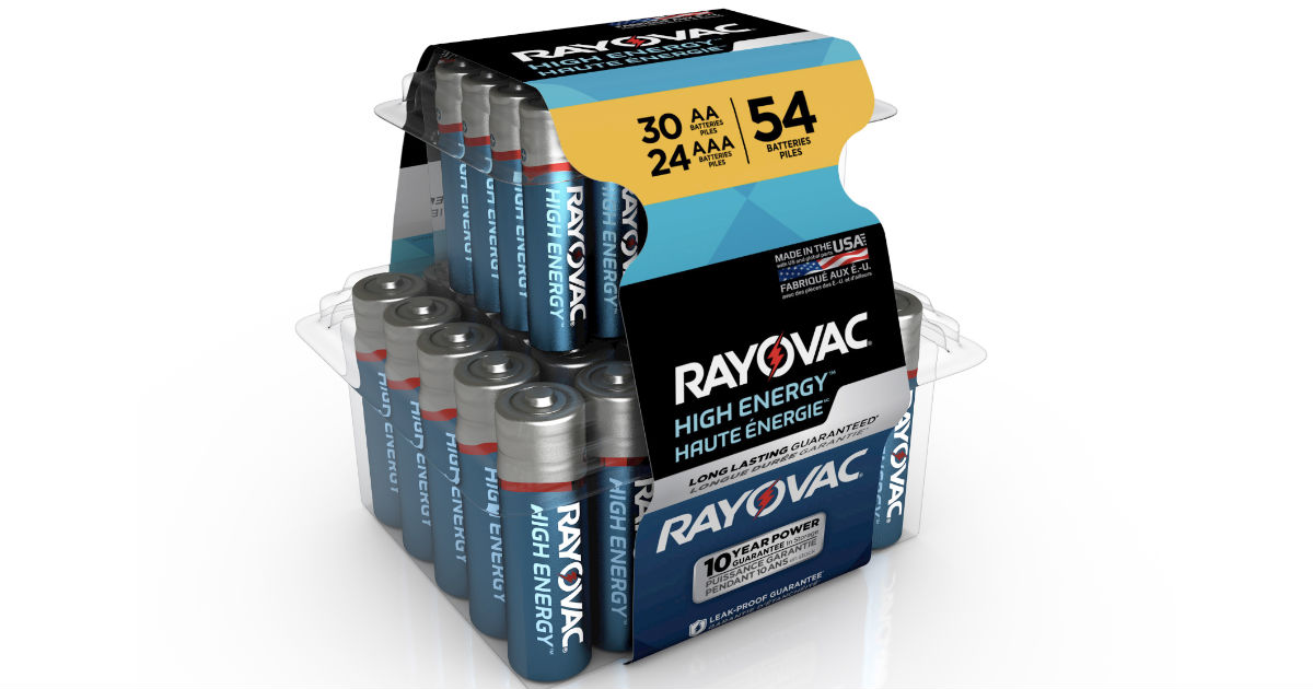 Rayovac High Energy Alkaline Batteries 54-Pk ONLY $9.94 (Reg $19)