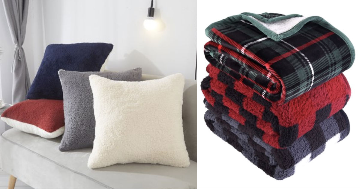 Sherpa Throw Blanket &...
