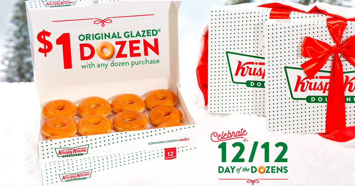 One Dozen Donuts ONLY $1.00 at Krispy Kreme - 12/12 Only