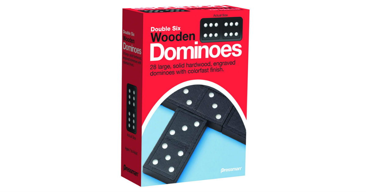 Pressman Toy Double Six Wooden Dominoes ONLY $4.00 (Reg. $14)