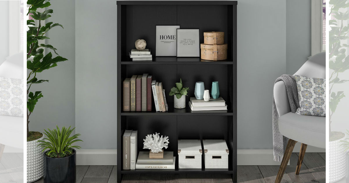 Mainstays Heritage 3 Shelf Bookcase Black Oak ONLY $21.09