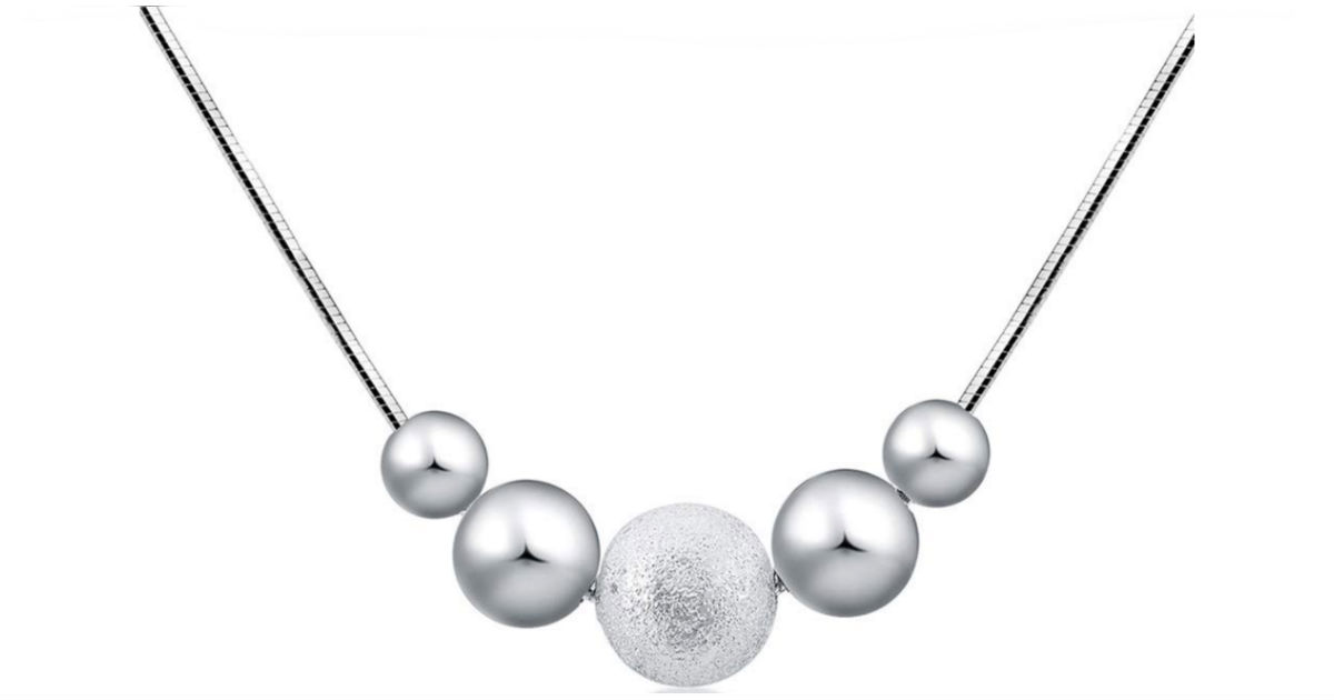 Fashion Silver Plated Beads Pendant & Necklace ONLY $3 Shipped