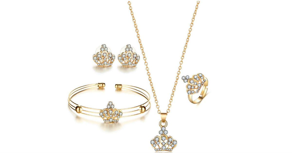 Crown Rhinestone Necklace Jewelry Set ONLY $2 Shipped