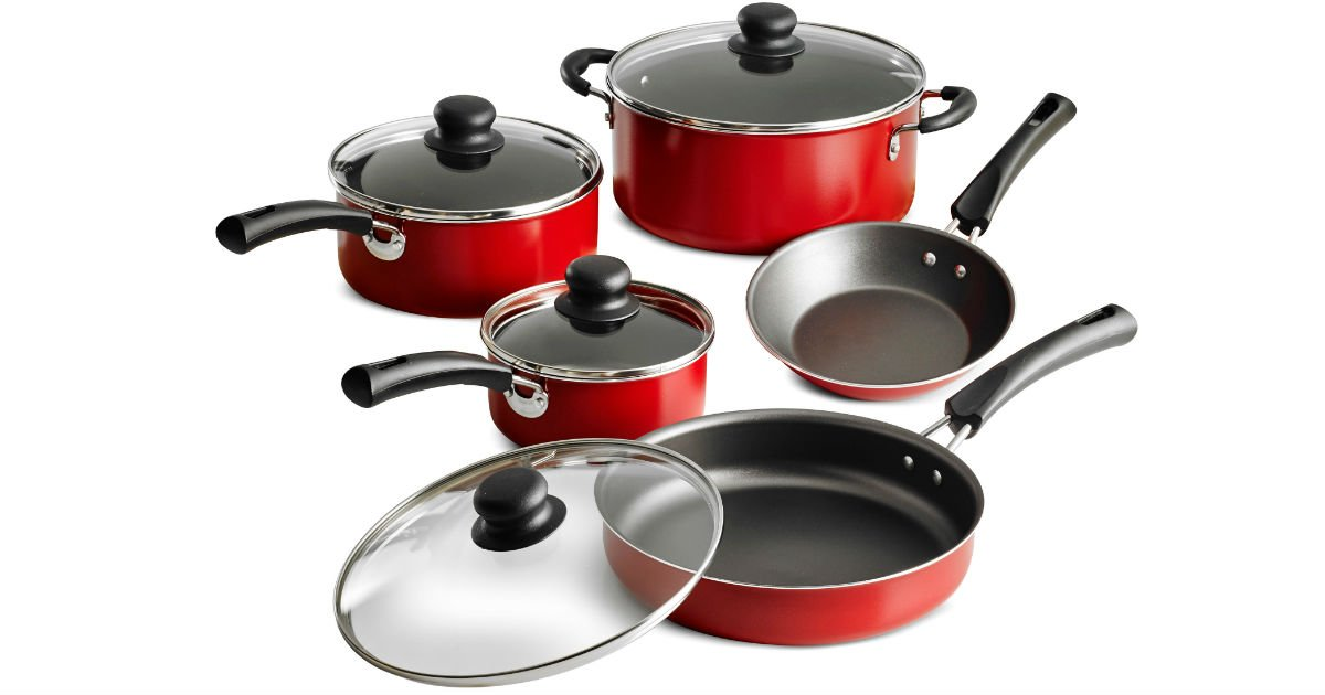 Tramontina 9-Pc Non-stick Cookware Set, Red