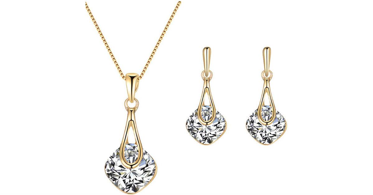 Rhinestone Water Drop Jewelry Set ONLY $3 Shipped