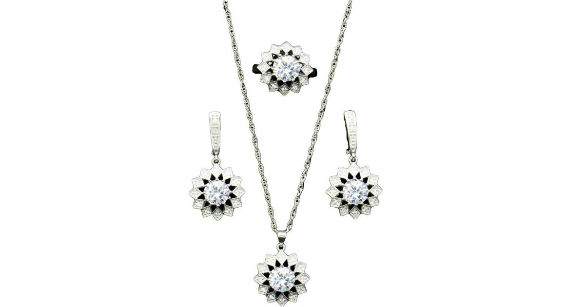 Cubic Zirconia Flower Jewelry Set ONLY $3 Shipped