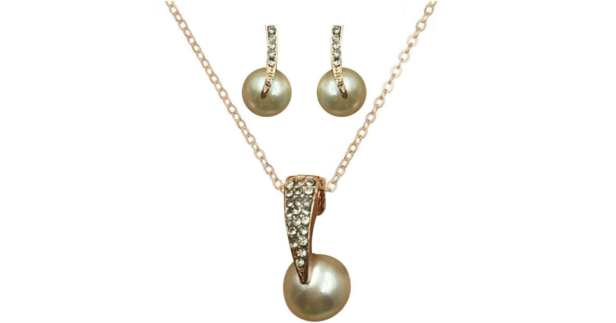 Exquisite Water Drop Full Diamond Pearl Set ONLY $1 Shipped