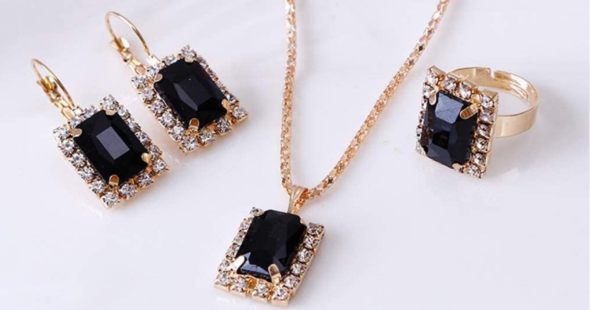 Black Crystal Jewelry Set ONLY $3 Shipped