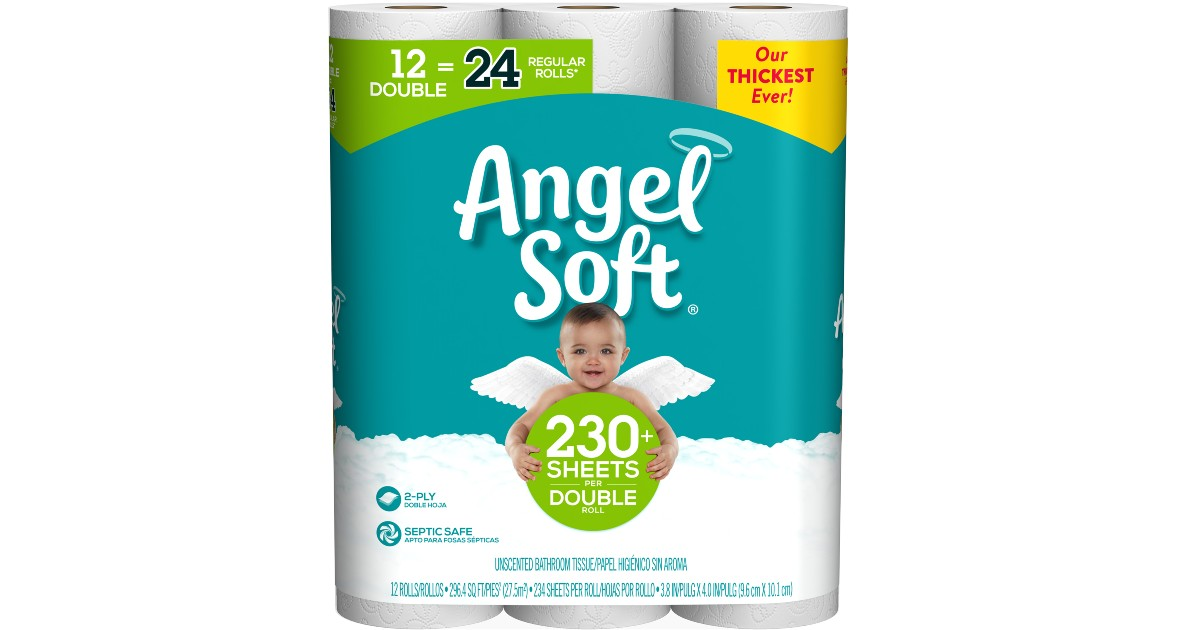 Angel Soft Toilet Paper Double Rolls 12-Count Only $5.97
