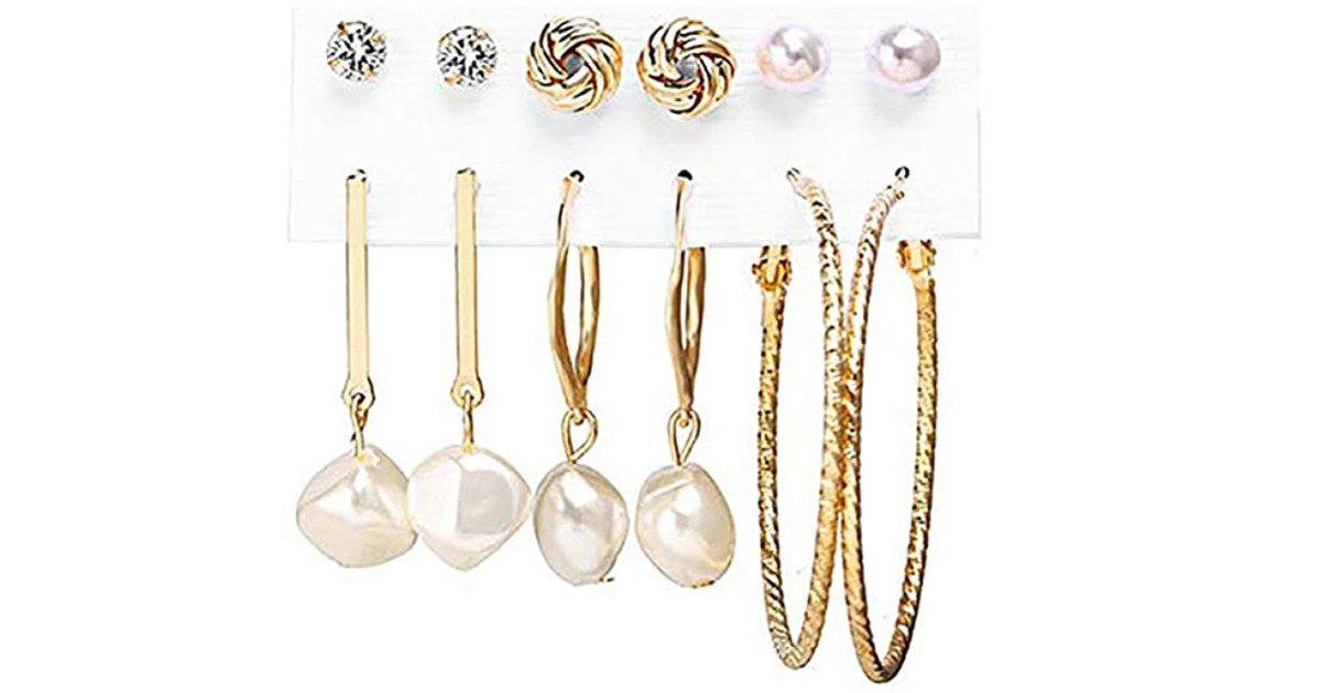 Fashion Pearl Hoop Earring 6-Piece Set ONLY $2.99 Shipped