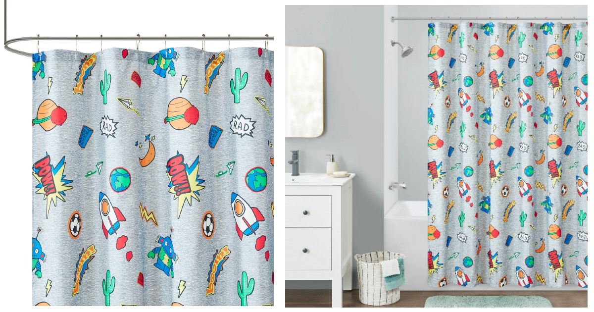 Your Zone Blast Off Printed Shower Curtain ONLY $5 at Walmart