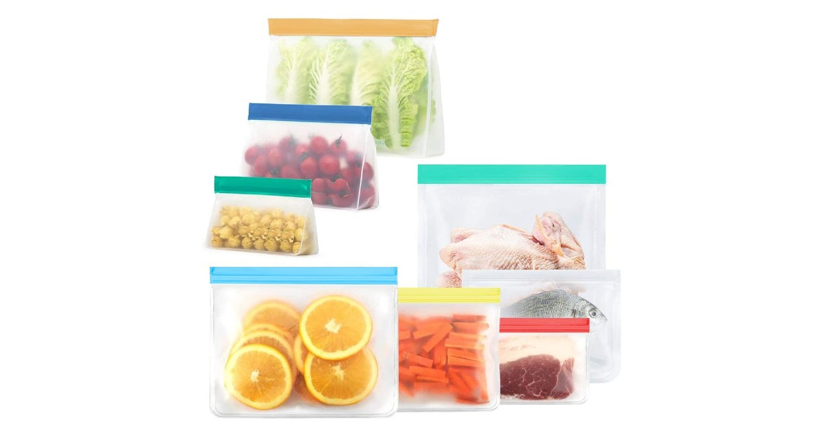 Reusable Food Storage Bags 8-Pack 50% Off with Coupon Code