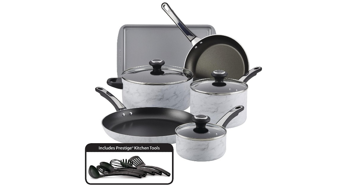 Farberware Nonstick 15-Pc White Marble Cookware ONLY $79.99