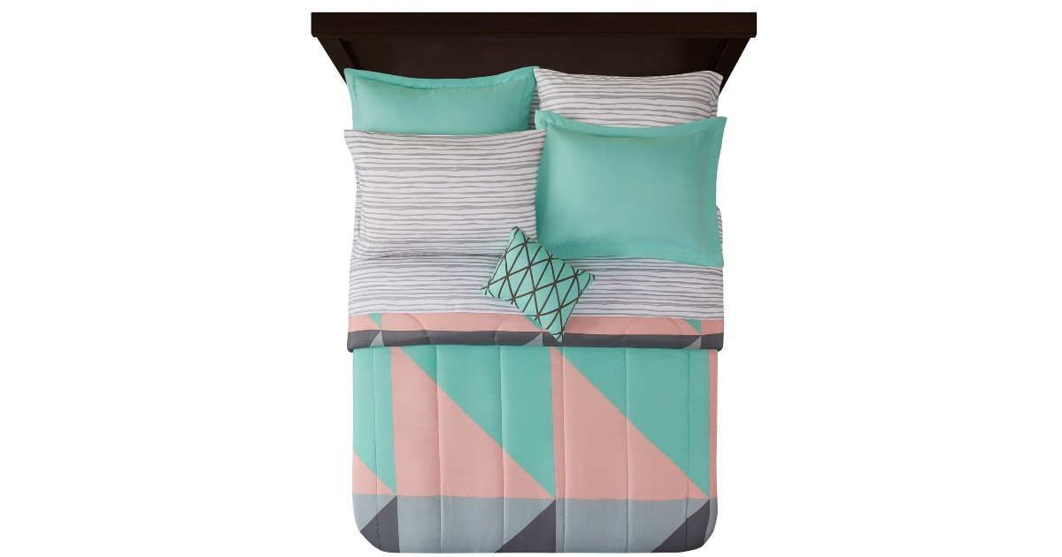 Mainstays Grey & Teal 8 pc Bed in a Bag ONLY $42.99 (Reg $55)