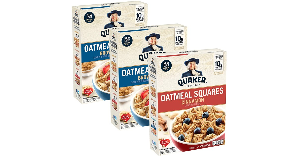 Quaker Oatmeal Squares Breakfast Cereal 3-Pk ONLY $3.70 Shipped