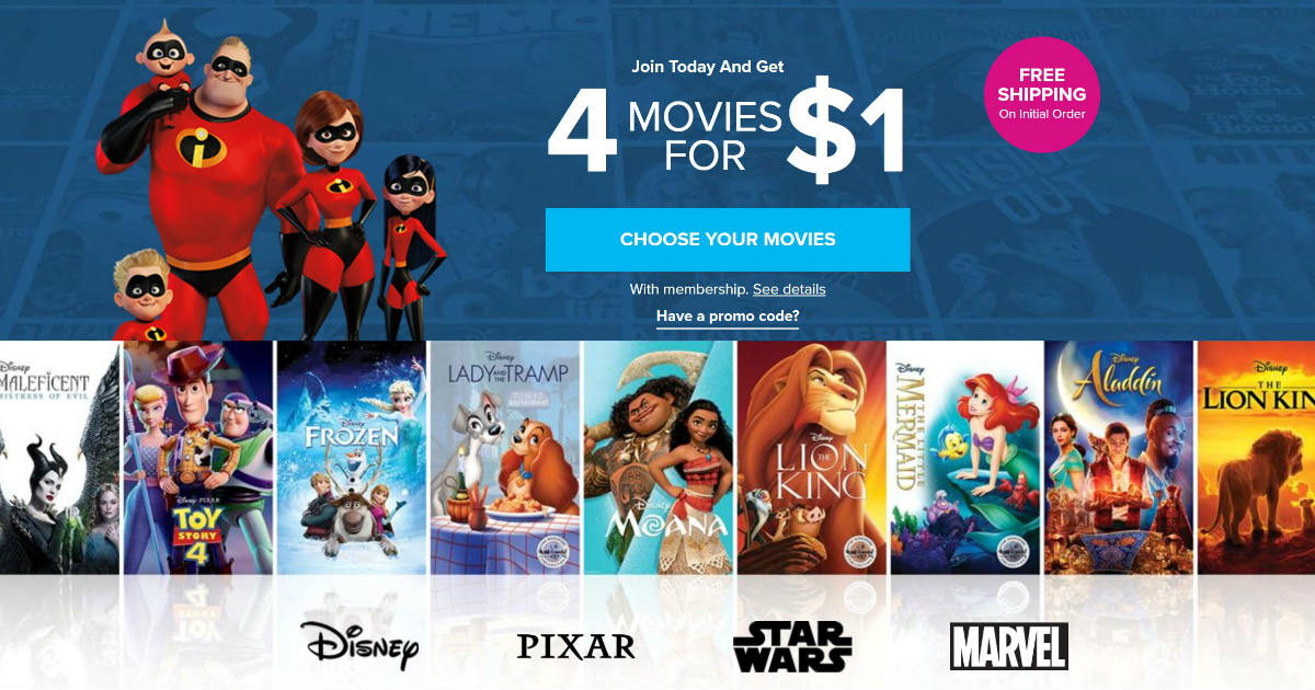 4 Disney Movies for $1 + FREE Shipping