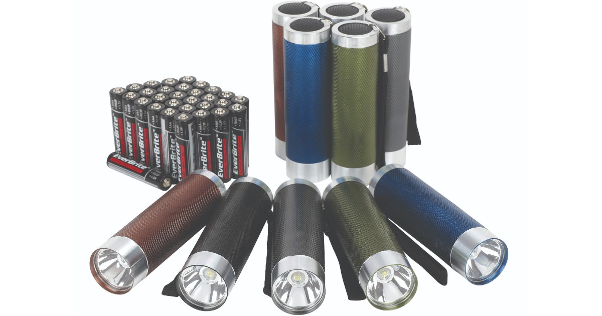 Ozark Trail 10-Pack Aluminum Flashlight + 30 Batteries for $5.97