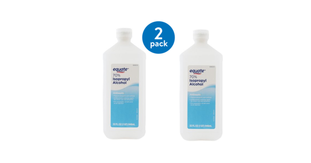Equate 70% Isopropyl Alcohol 2 Pack 32oz Bottles $3.92