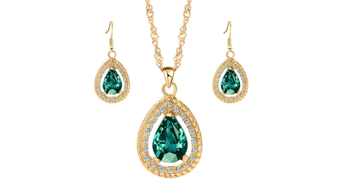 Gemstone Inlaid Waterdrop Pendant & Necklace ONLY $2.49 Shipped