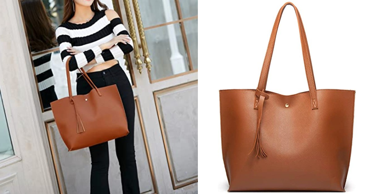 Soft Faux Leather Tote Shoulder Bag ONLY $14.99 (Reg $31)