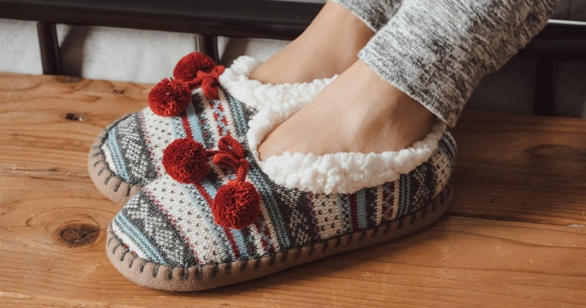 MUK LUKS Women's Pom Ballerina Slippers ONLY $9.99 (Reg $20)