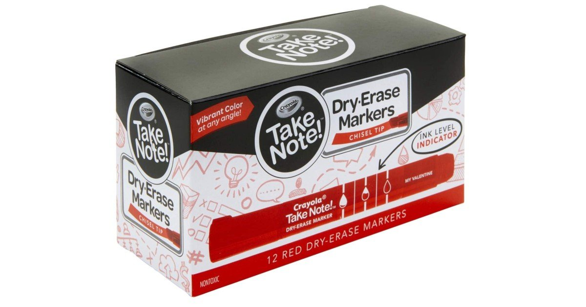 Crayola Take Note Dry Erase Markers 12-Ct ONLY $3.73 (Reg. $10)