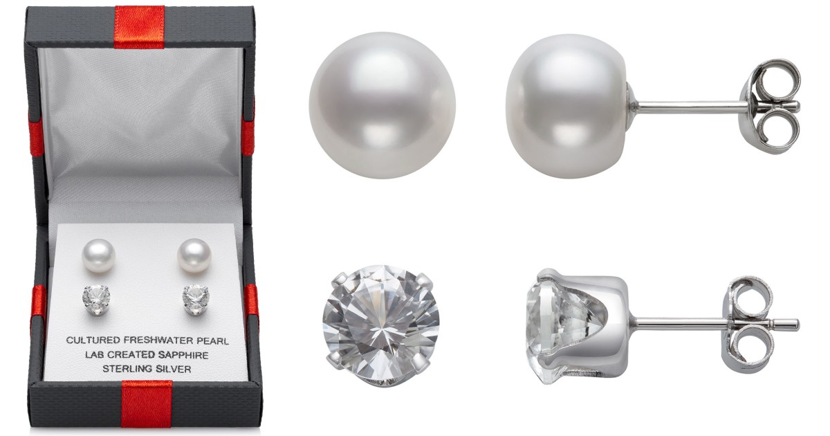 White Sapphire & Cultured Pearl 2-Pair Stud Earrings ONLY $15