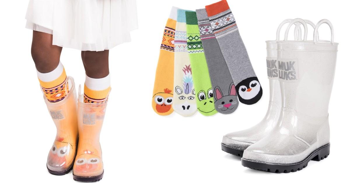 MUK LUKS Girl's Clear Molly Rainboots and Socks $21.99 (Reg $48)