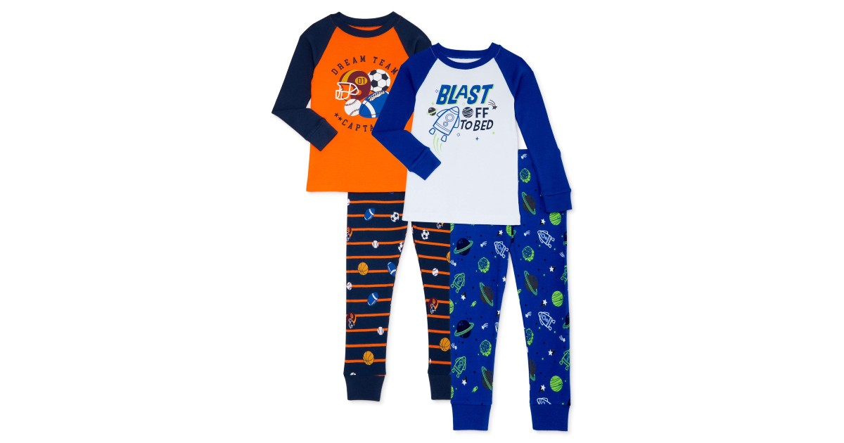 Wonder Nation Sleeve Pajamas 4-Pack ONLY $9.92 at Walmart