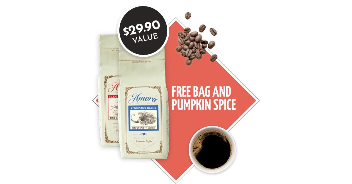 FREE Amora Premium Coffee & Free Bag of Pumpkin Spice Coffee
