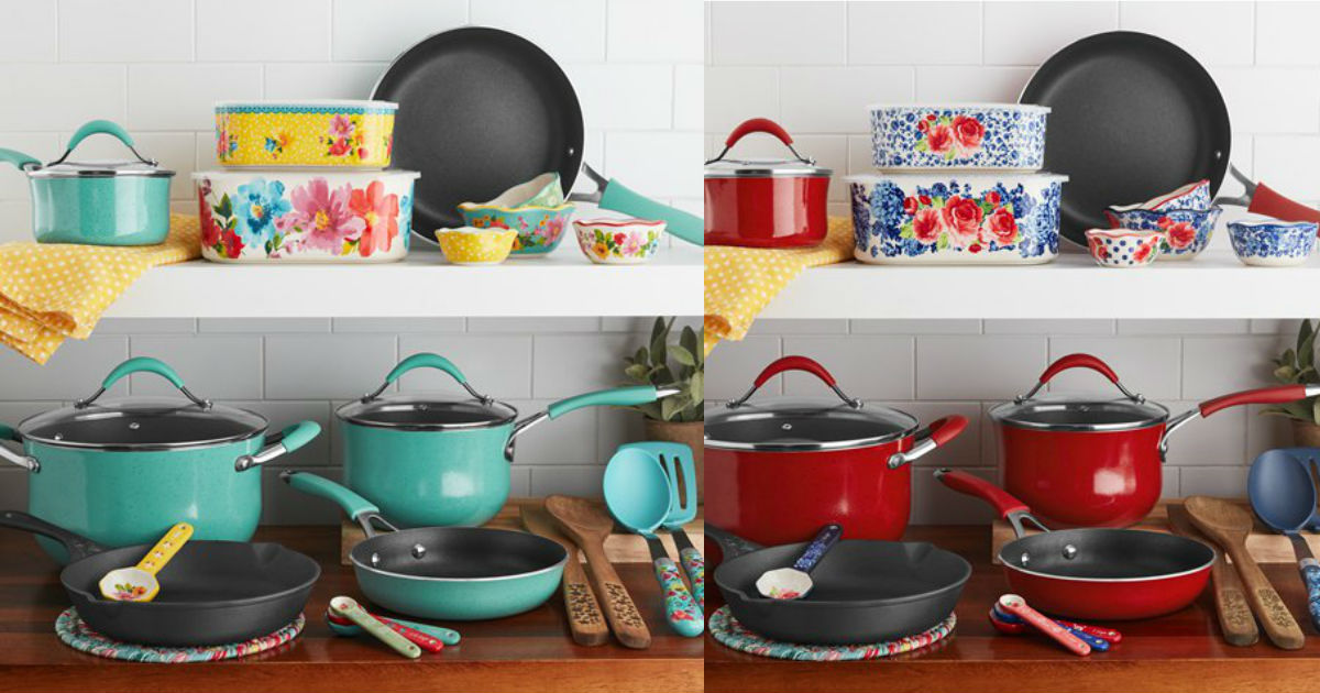 The Pioneer Woman 25-Piece Nonstick & Cast Iron Set $69