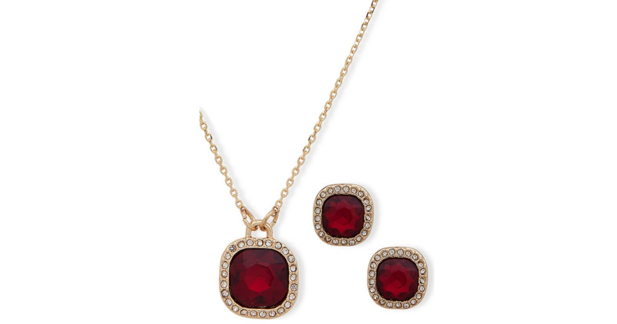 Red Crystal Necklace and Earri...