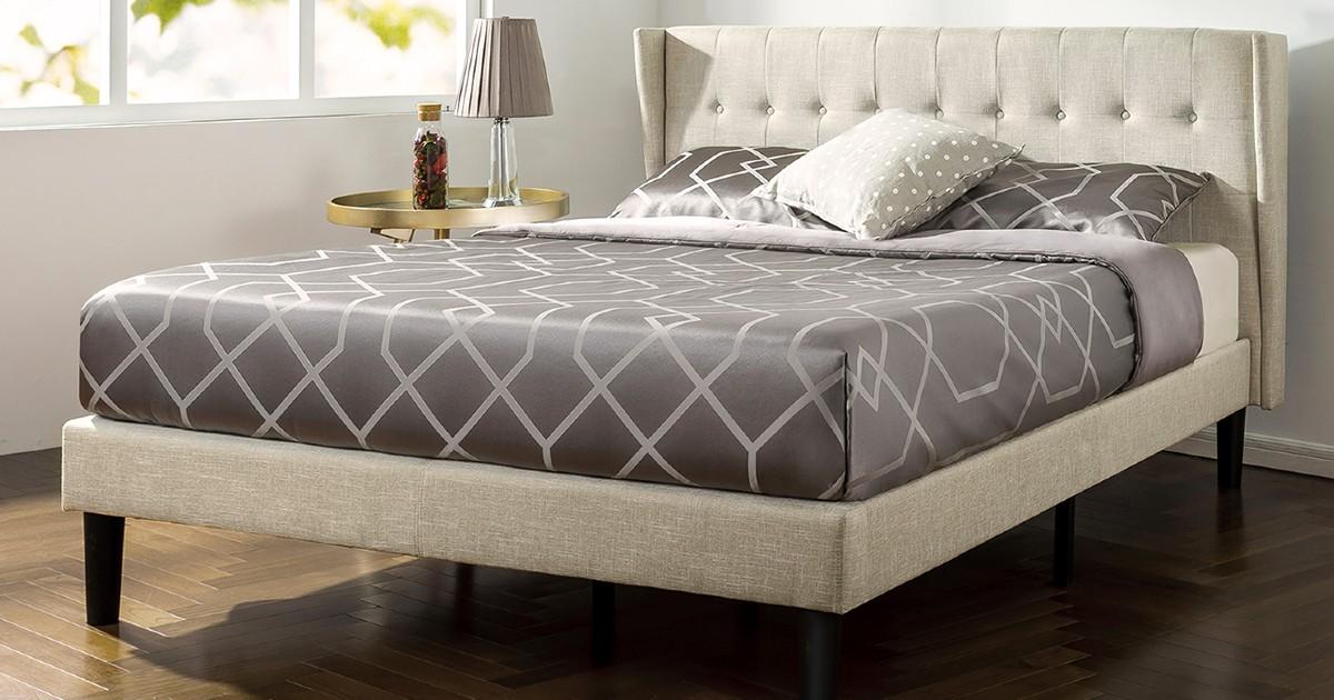 Upholstered King Size Platform Bed ONLY $150 Shipped (Reg $299)