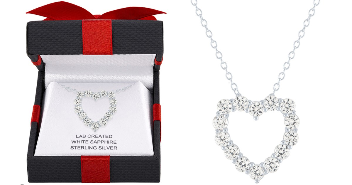 White Sapphire Heart Necklace at JCPenney